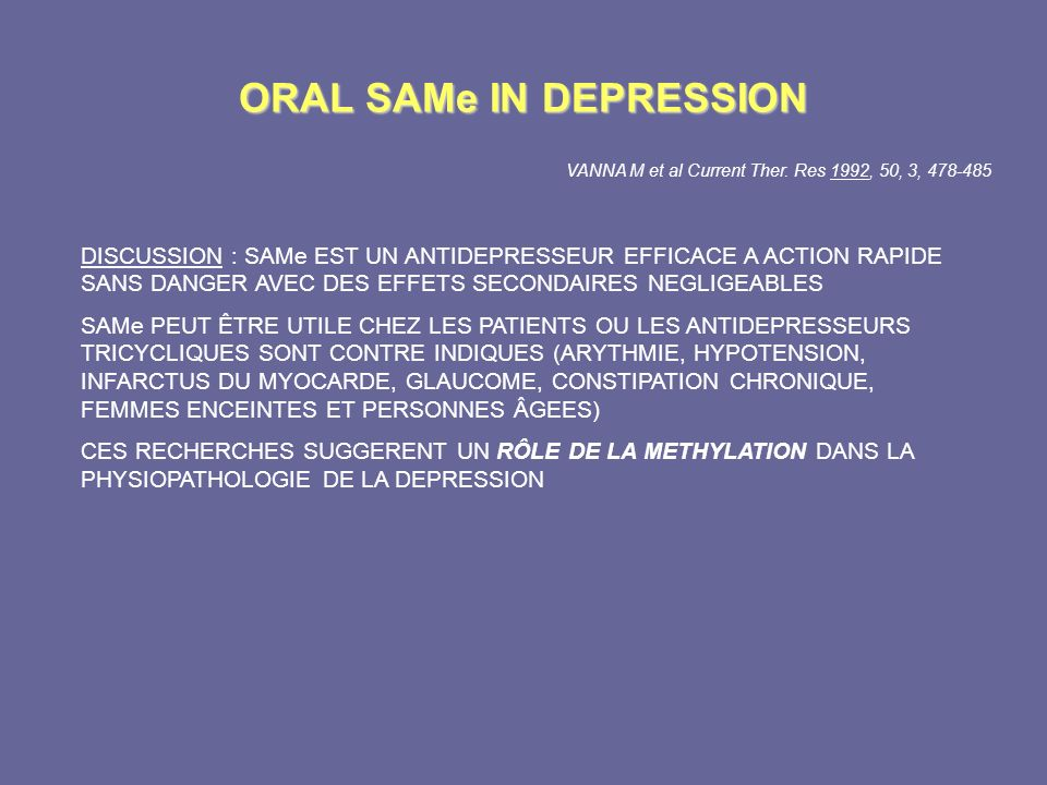 ORAL SAMe IN DEPRESSION