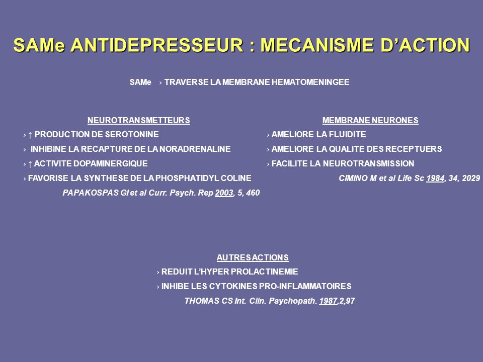 SAMe ANTIDEPRESSEUR : MECANISME D'ACTION
