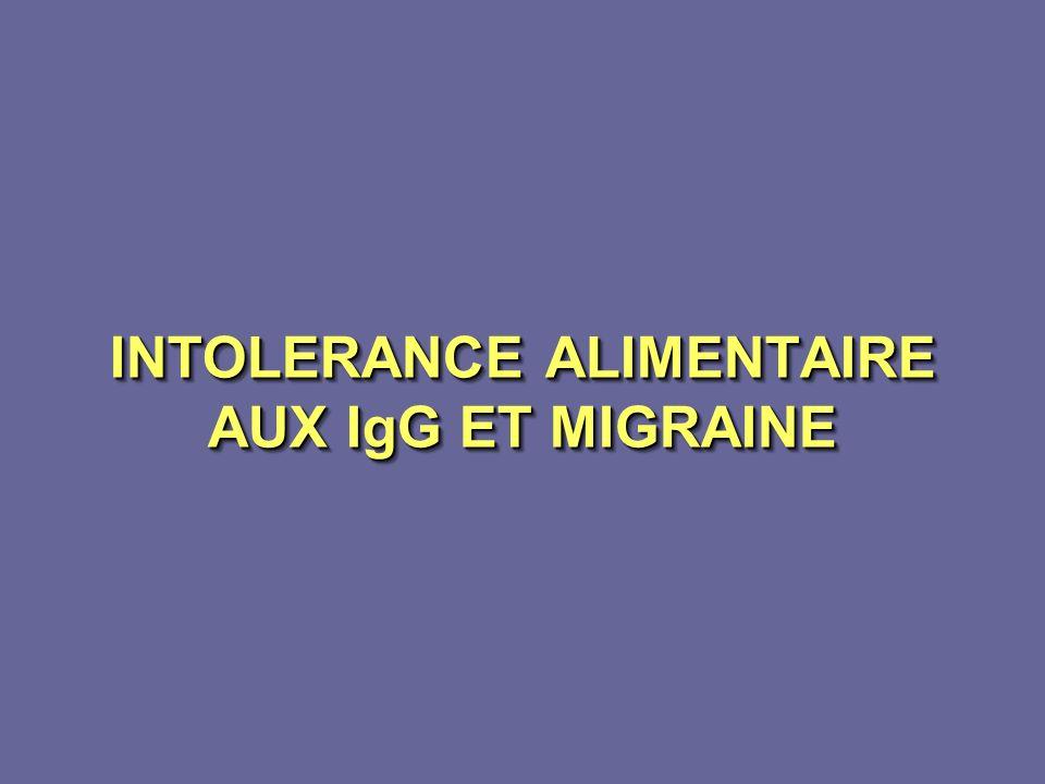 INTOLERANCE ALIMENTAIRE AUX IgG ET MIGRAINE