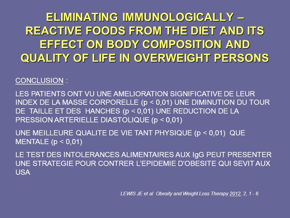 ELIMINATING IMMUNOLOGICALLY – REACTIVE FOODS FROM THE DIET AND ITS EFFECT ON BODY COMPOSITION AND QUALITY OF LIFE IN OVERWEIGHT PERSONS