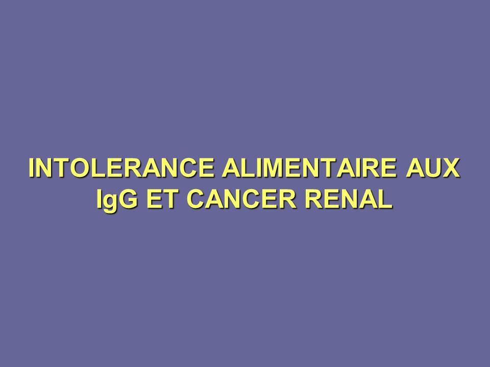 INTOLERANCE ALIMENTAIRE AUX IgG ET CANCER RENAL