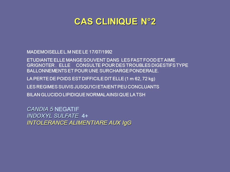 CAS CLINIQUE N°2 CANDIA 5 NEGATIF INDOXYL SULFATE 4+