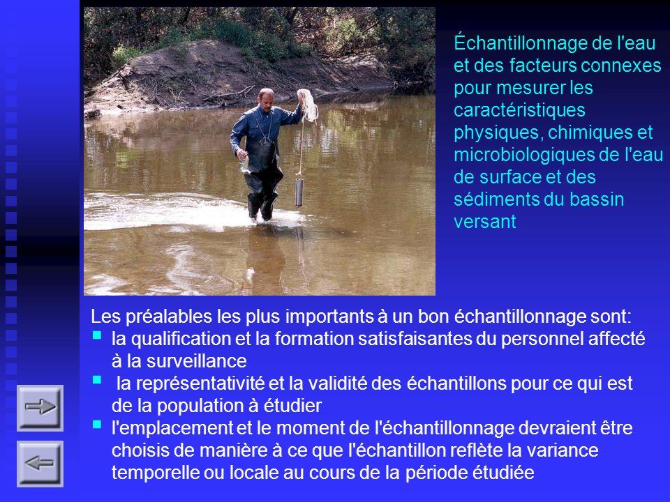 Échantillonnage de l eau et des facteurs connexes pour mesurer les caractéristiques physiques, chimiques et microbiologiques de l eau de surface et des sédiments du bassin versant
