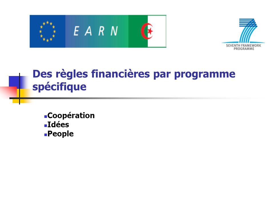 Des règles financières par programme spécifique