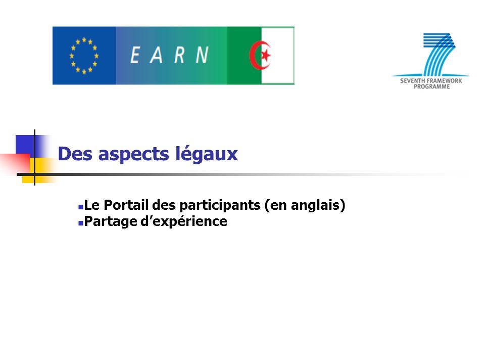 Le Portail des participants (en anglais) Partage d'expérience