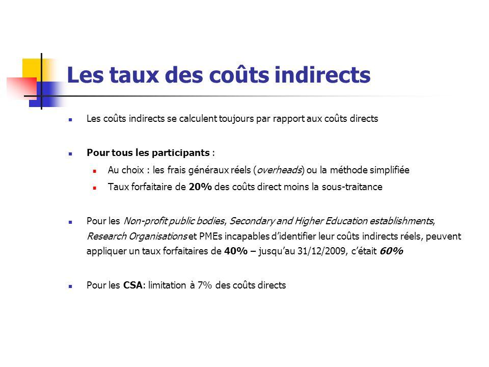 Les taux des coûts indirects