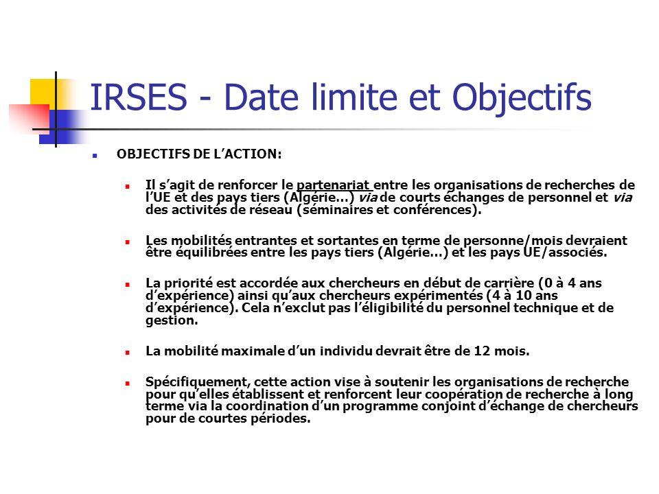 IRSES - Date limite et Objectifs