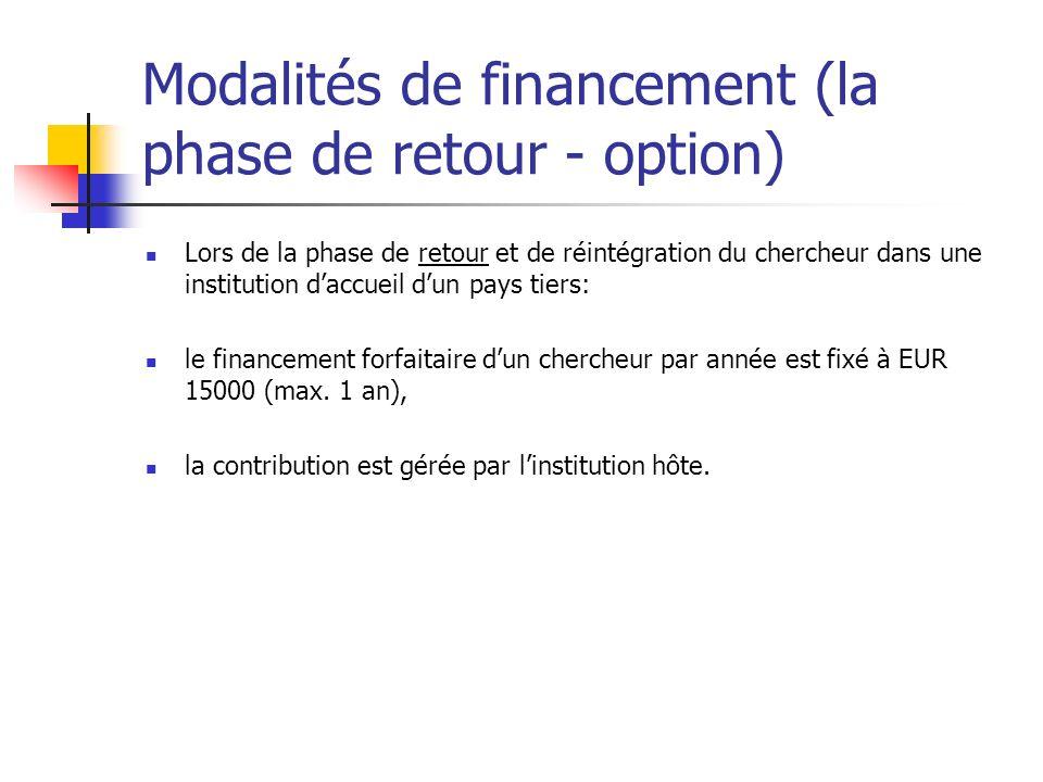 Modalités de financement (la phase de retour - option)