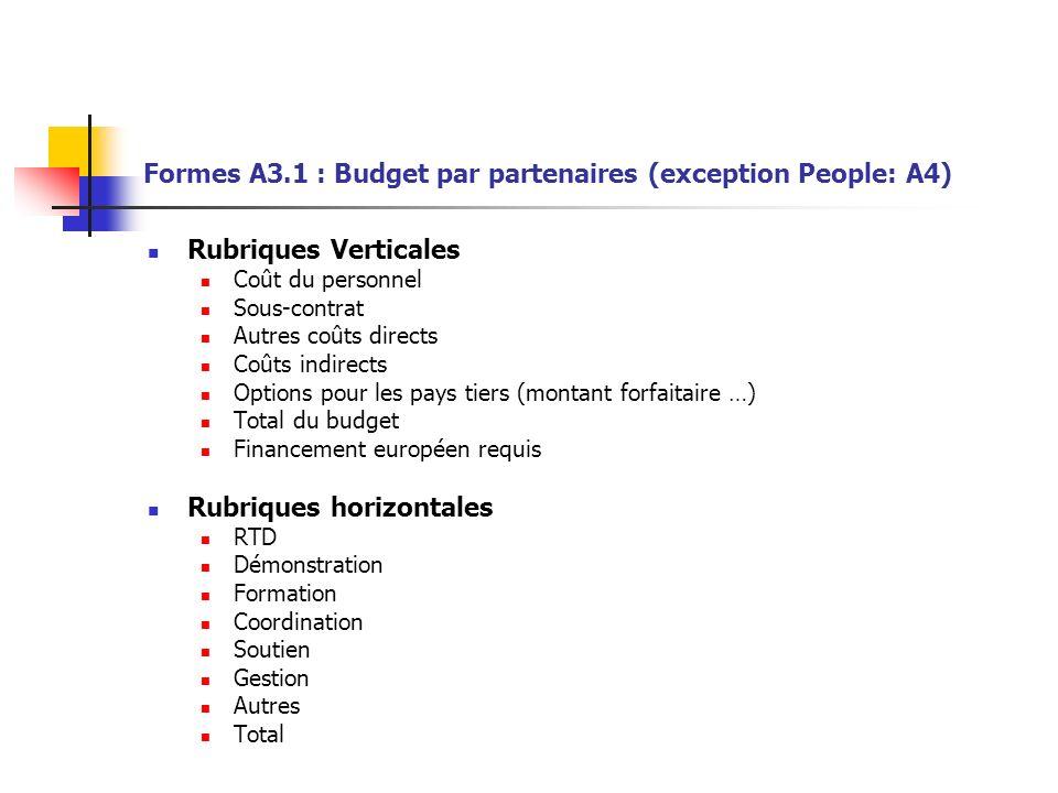 Formes A3.1 : Budget par partenaires (exception People: A4)