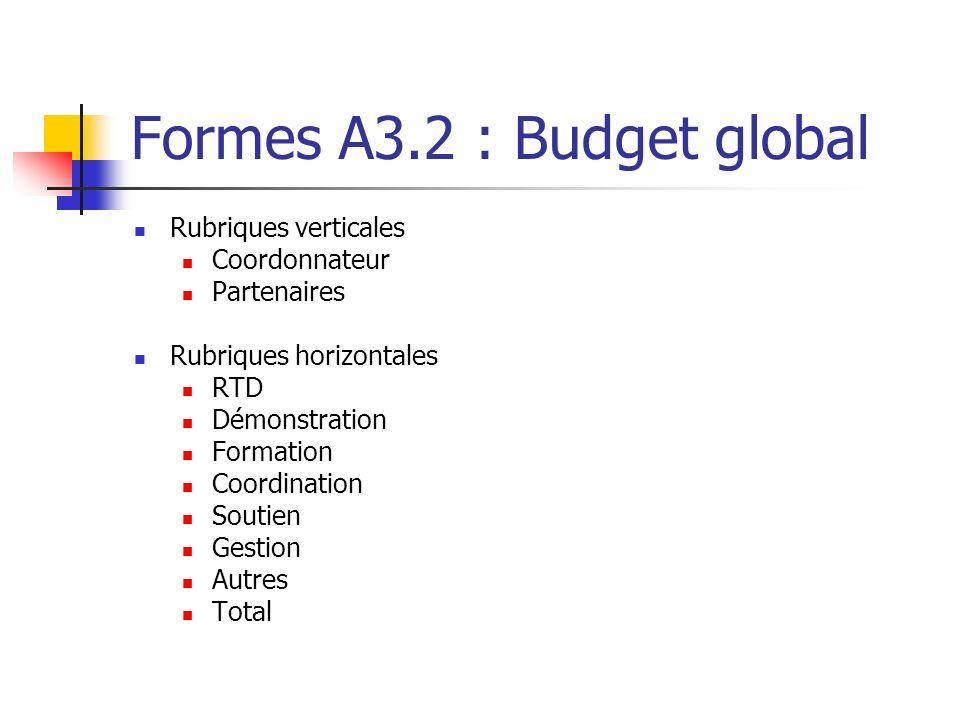 Formes A3.2 : Budget global