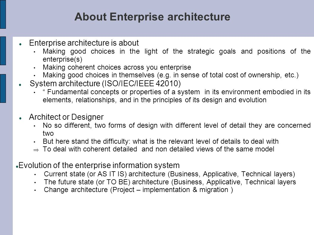 About Enterprise architecture