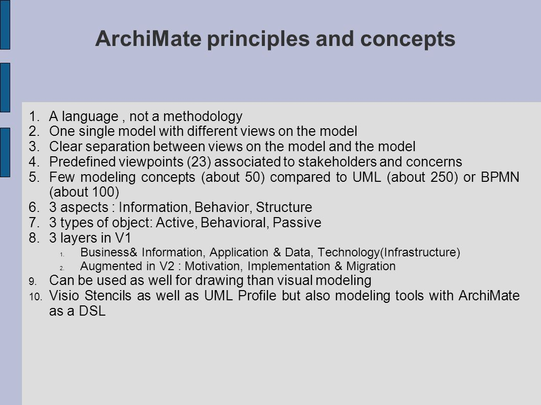 ArchiMate principles and concepts
