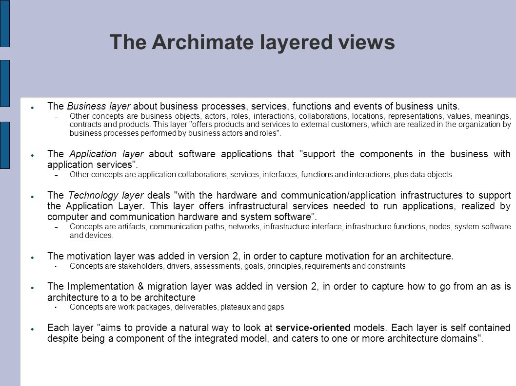 The Archimate layered views
