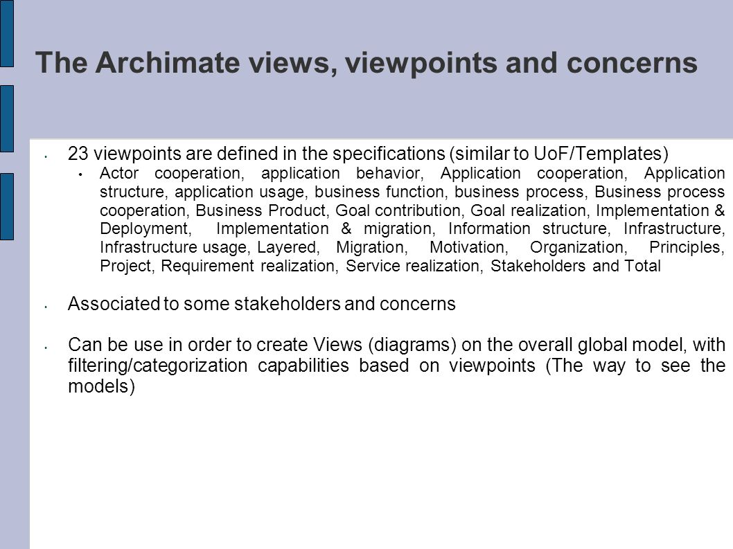 The Archimate views, viewpoints and concerns