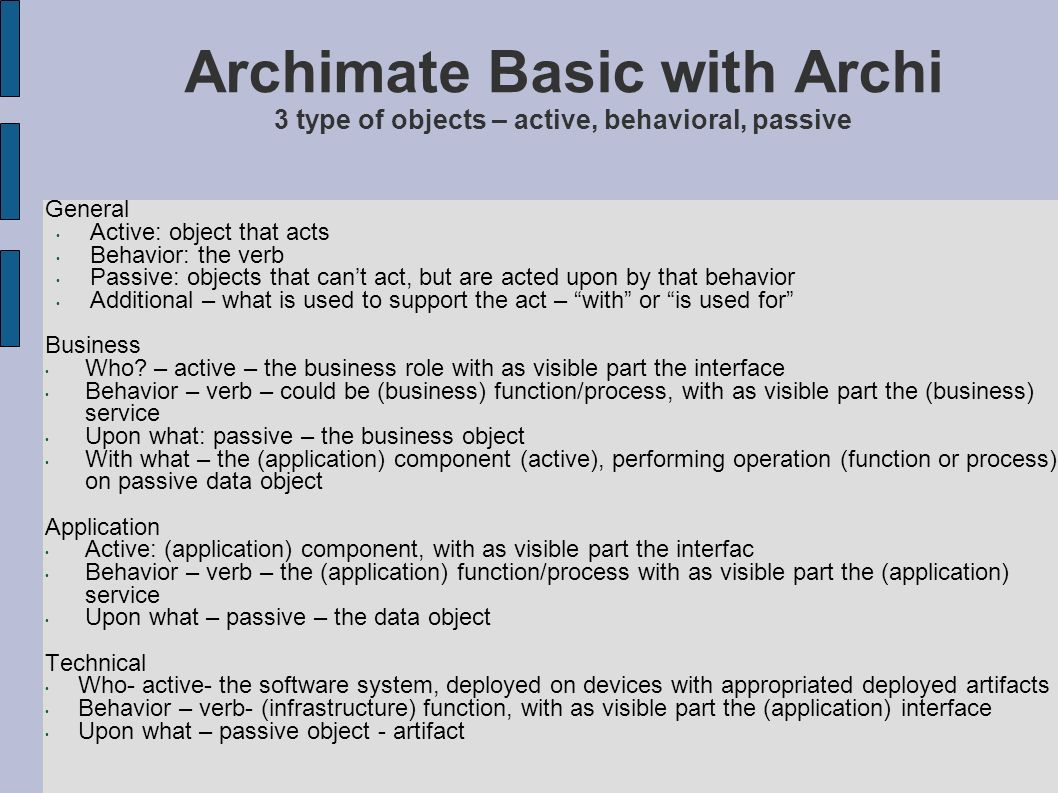 Archimate Basic with Archi 3 type of objects – active, behavioral, passive