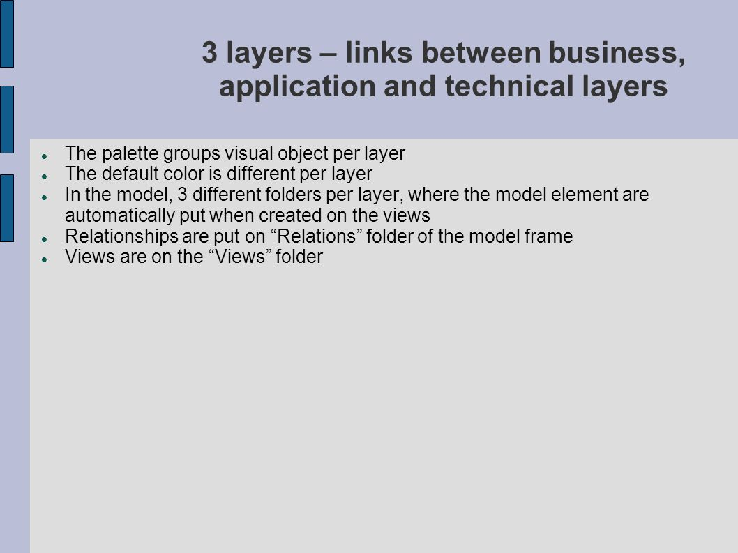 3 layers – links between business, application and technical layers