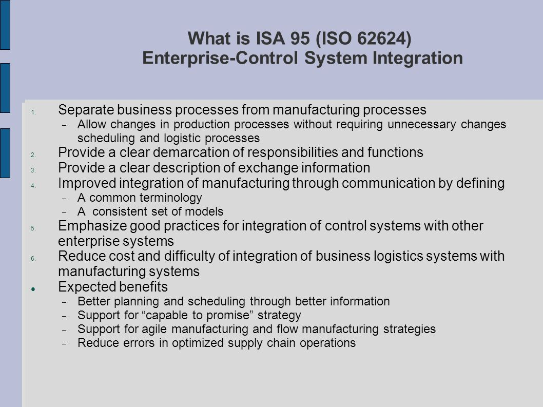 What is ISA 95 (ISO 62624) Enterprise-Control System Integration
