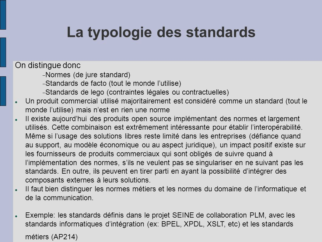 La typologie des standards