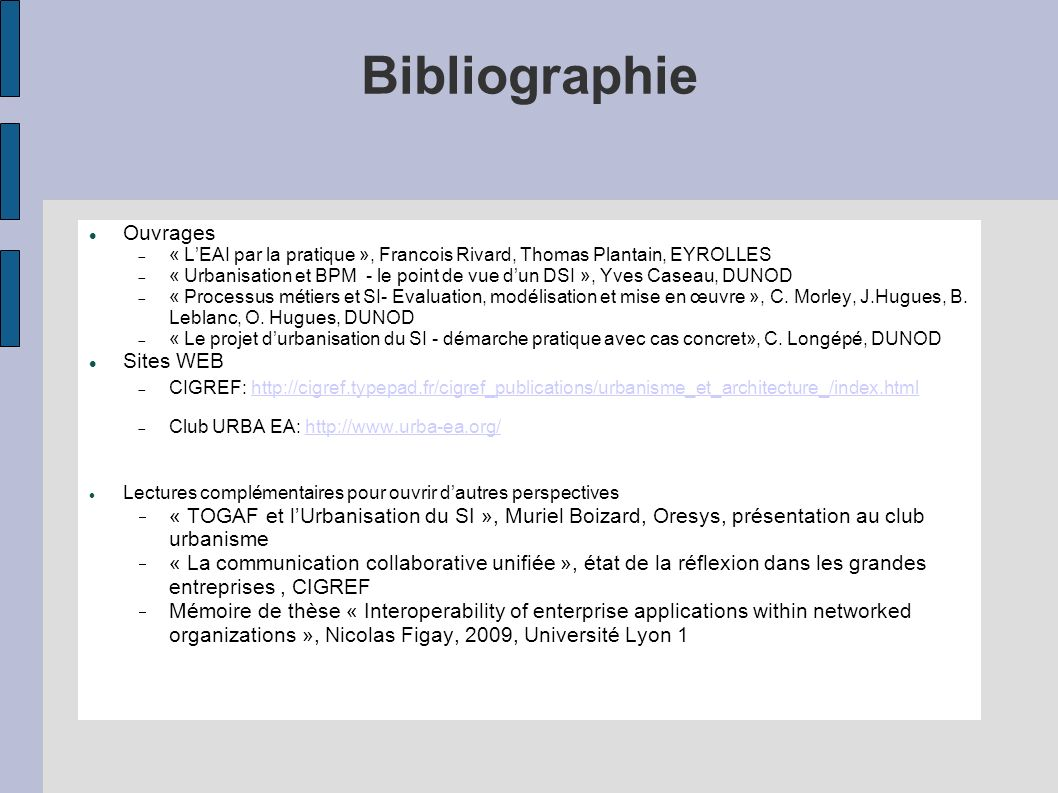Bibliographie Ouvrages Sites WEB