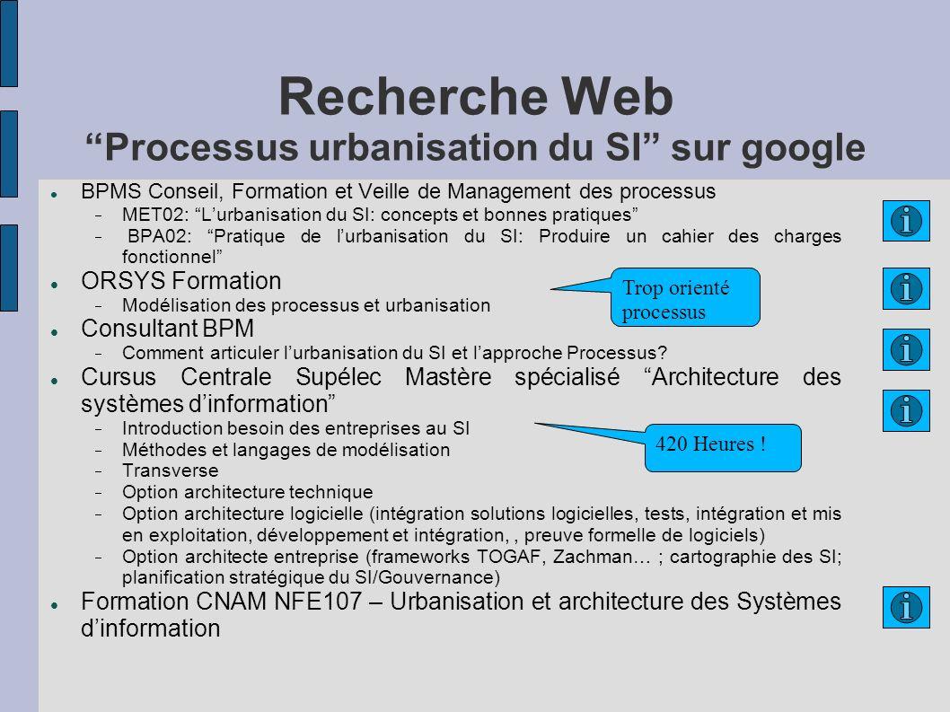 Recherche Web Processus urbanisation du SI sur google