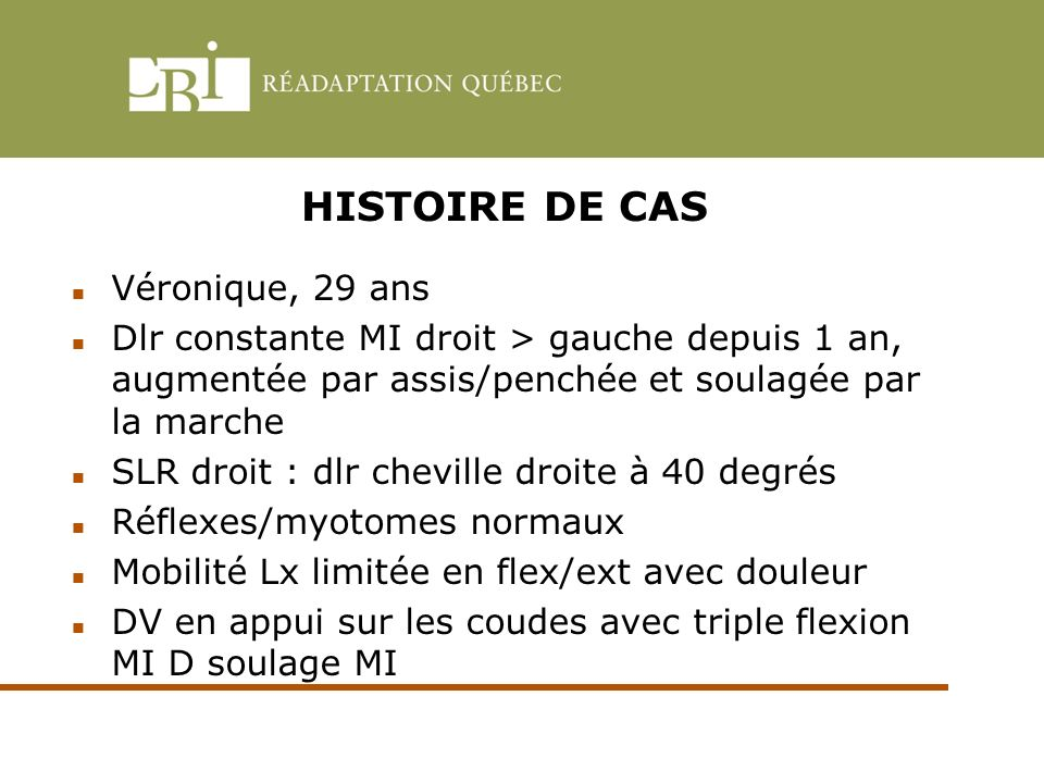 HISTOIRE DE CAS Véronique, 29 ans