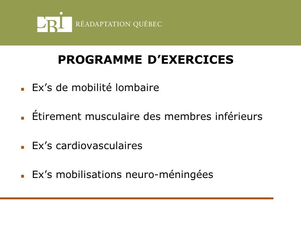 PROGRAMME D'EXERCICES