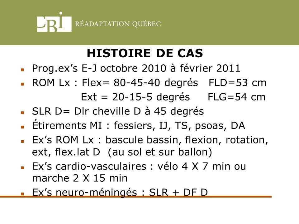 HISTOIRE DE CAS Prog.ex's E-J octobre 2010 à février 2011
