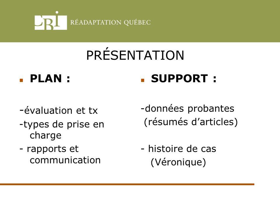 PRÉSENTATION PLAN : -évaluation et tx SUPPORT :
