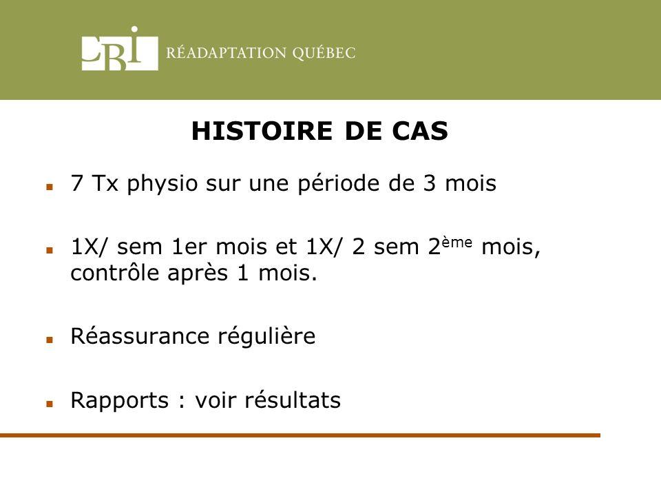 HISTOIRE DE CAS 7 Tx physio sur une période de 3 mois
