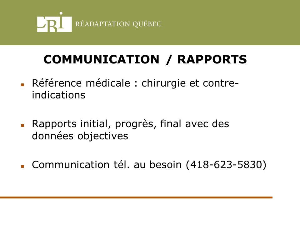 COMMUNICATION / RAPPORTS