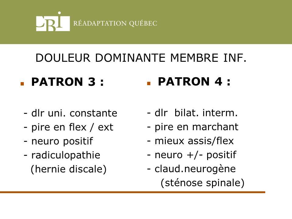 DOULEUR DOMINANTE MEMBRE INF.
