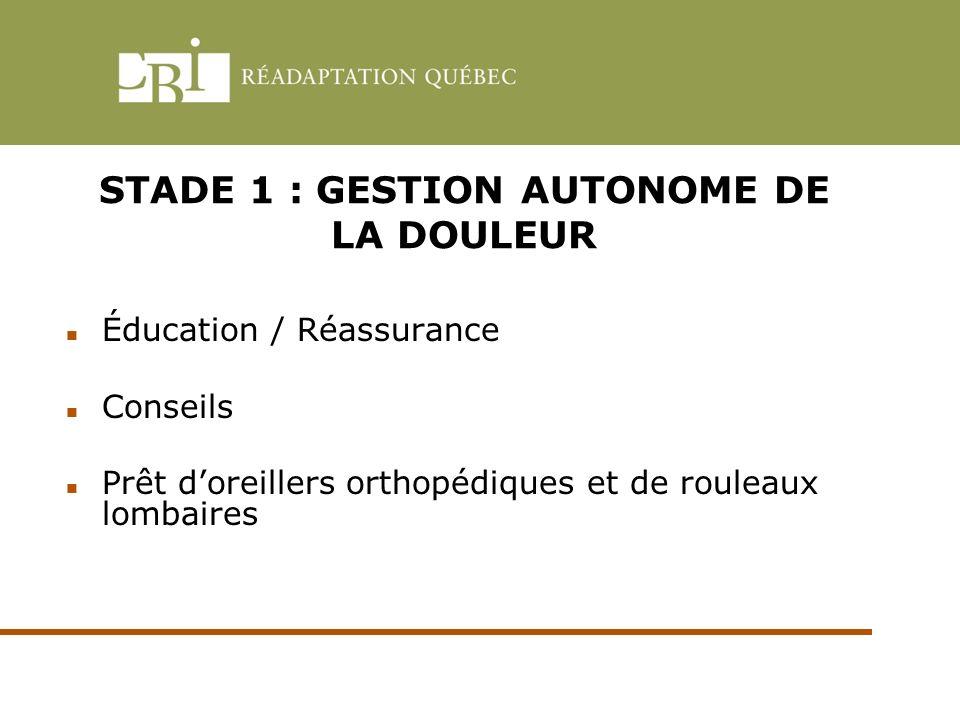 STADE 1 : GESTION AUTONOME DE LA DOULEUR