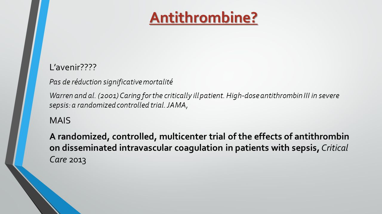 Antithrombine L'avenir MAIS
