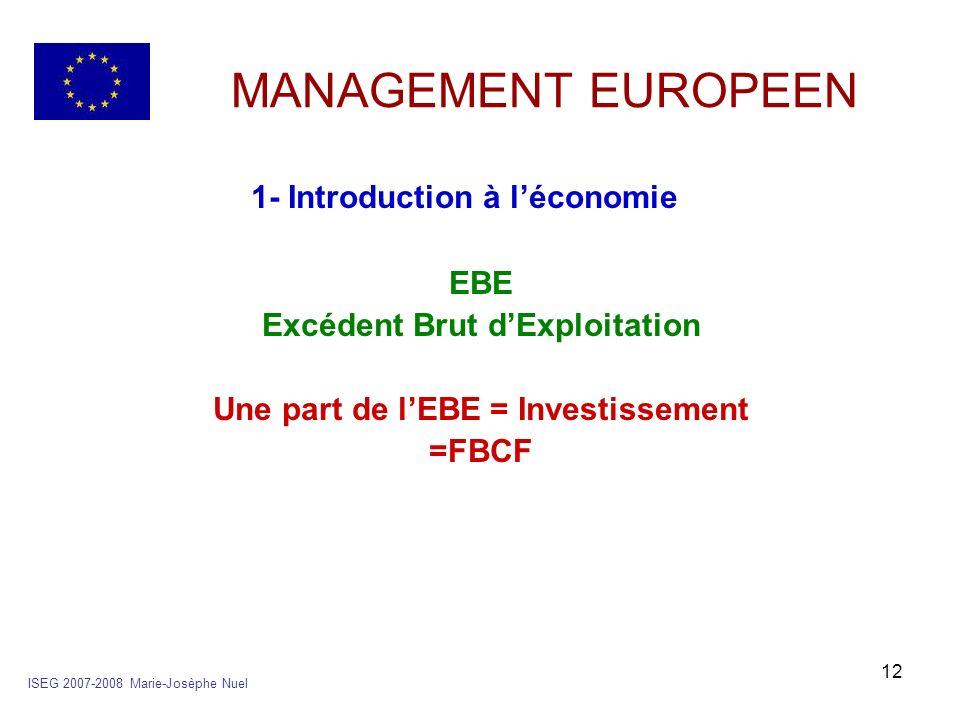 Excédent Brut d'Exploitation Une part de l'EBE = Investissement