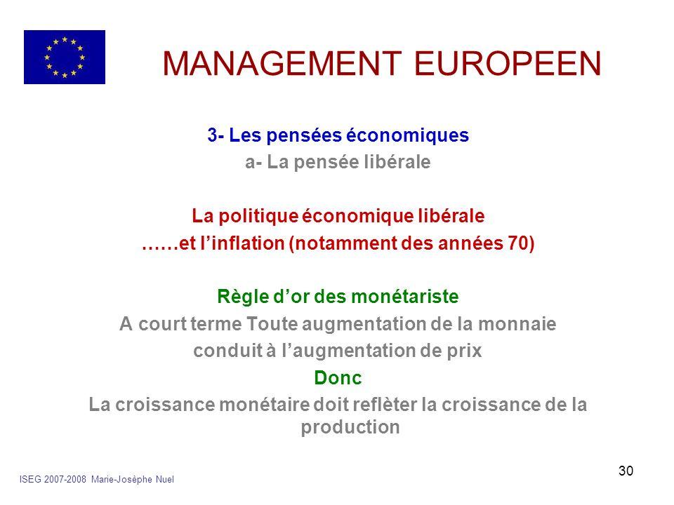 MANAGEMENT EUROPEEN 3- Les pensées économiques a- La pensée libérale