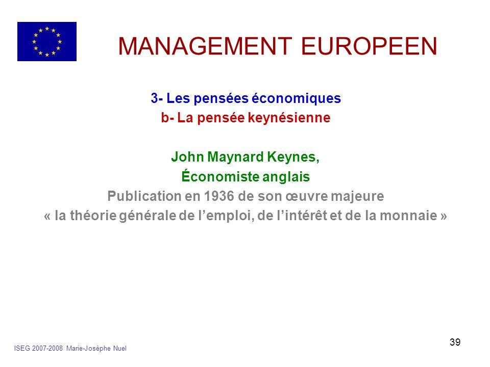 MANAGEMENT EUROPEEN 3- Les pensées économiques