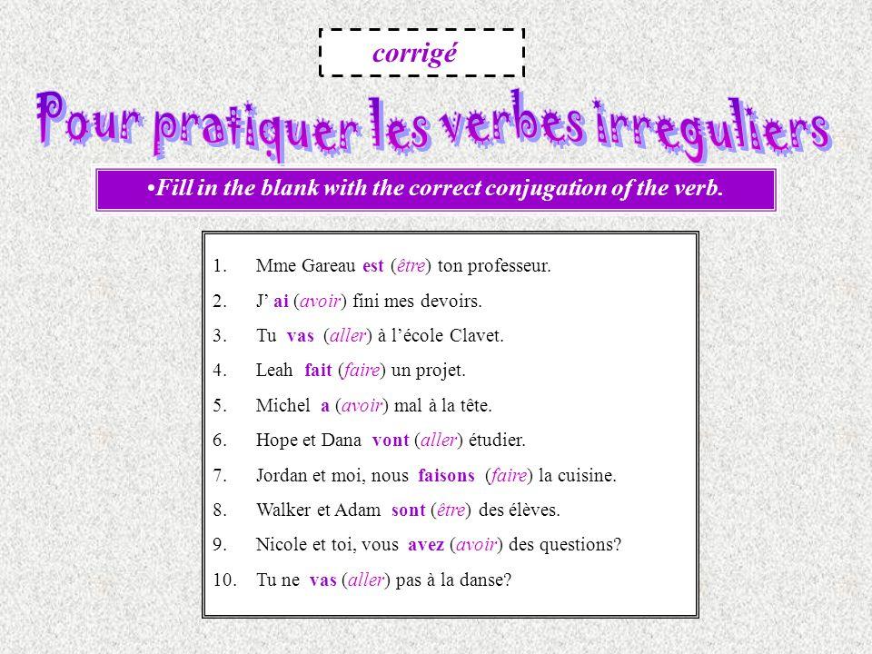 Pour pratiquer les verbes irreguliers