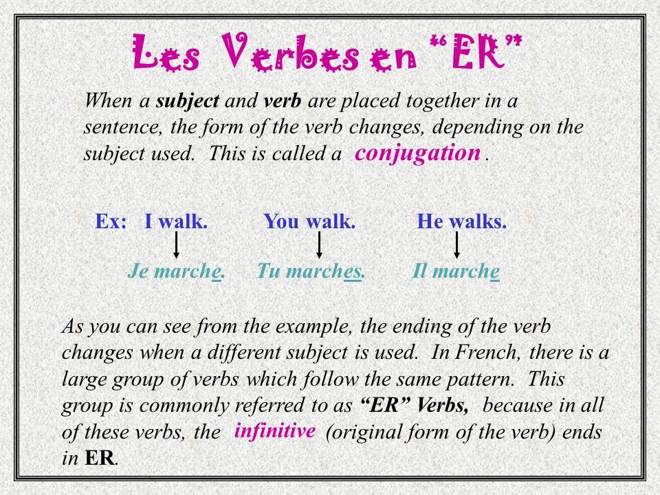 Les Verbes en ER conjugation