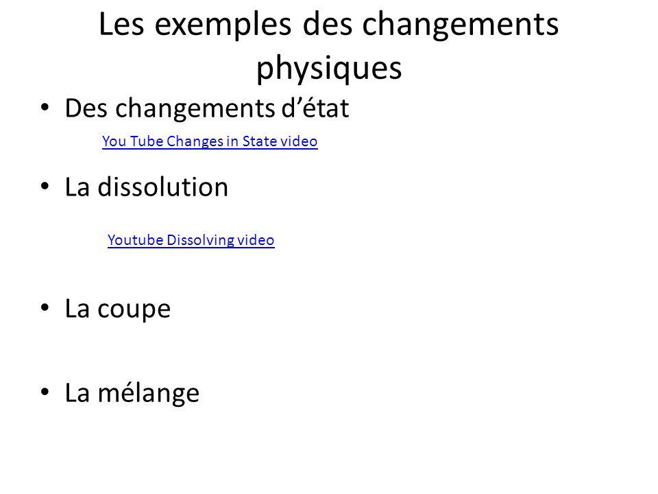 Les exemples des changements physiques