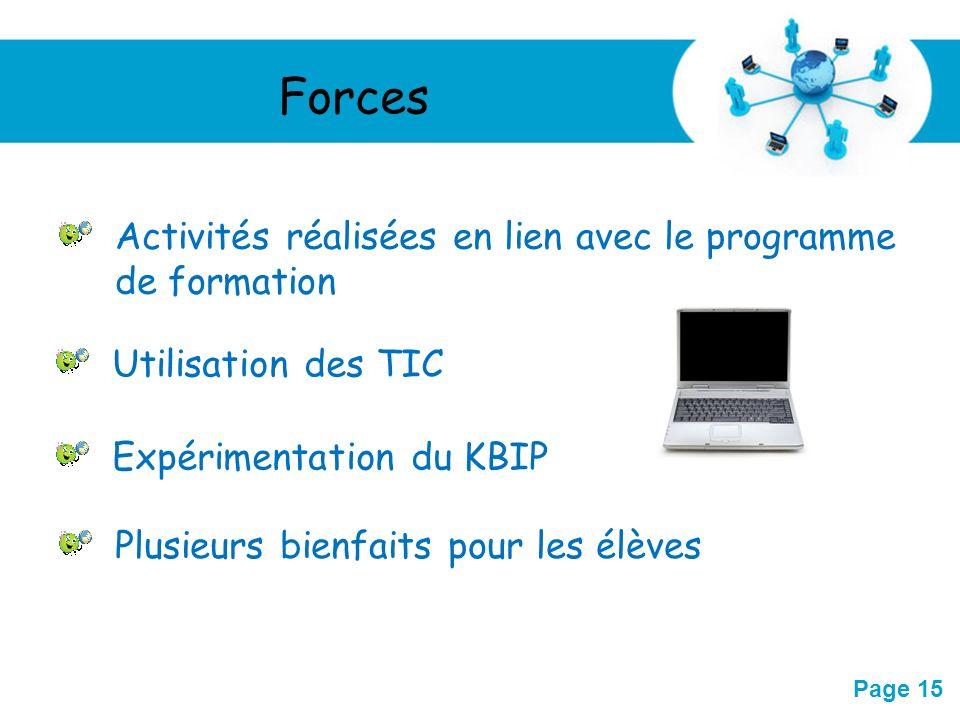 Forces Activités réalisées en lien avec le programme de formation