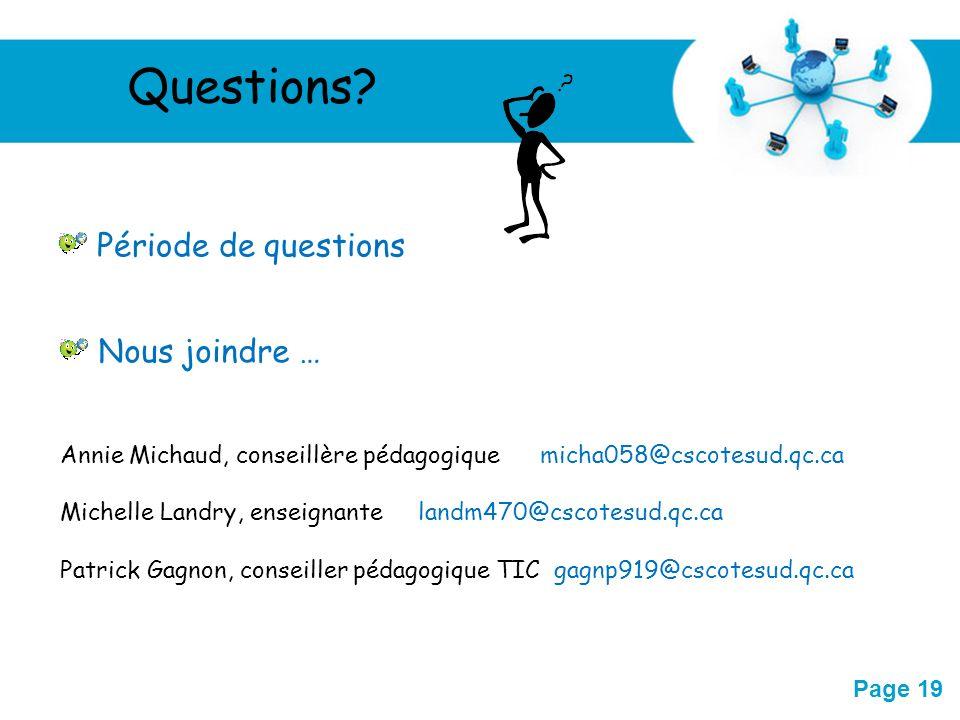Questions Période de questions Nous joindre …