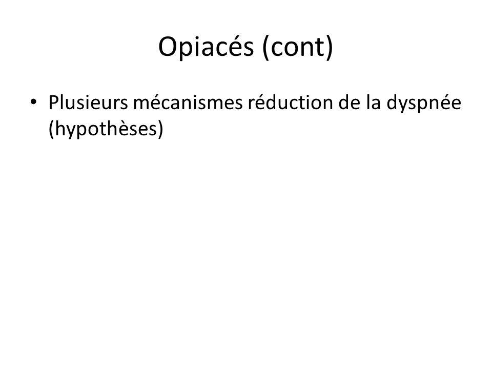 Opiacés (cont) Plusieurs mécanismes réduction de la dyspnée (hypothèses)