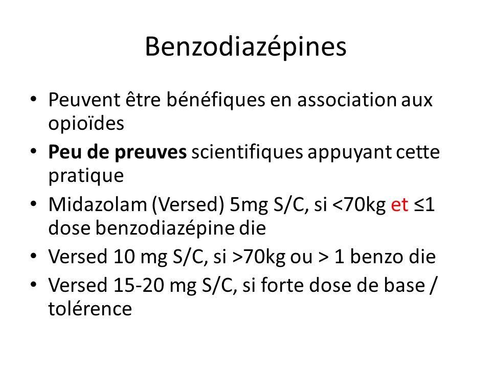 Benzodiazépines Peuvent être bénéfiques en association aux opioïdes