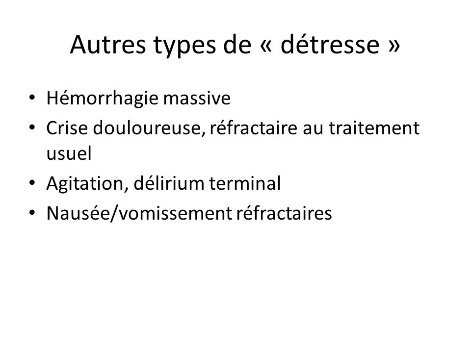 Autres types de « détresse »