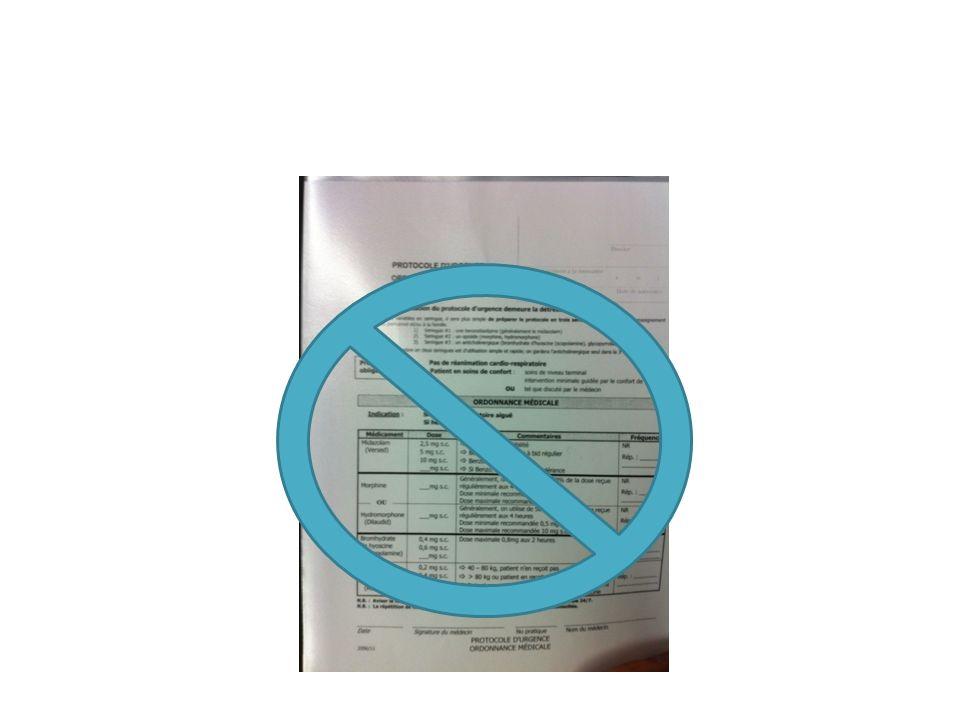 Ancienne feuille d'ordonnance (daté de 2006); je ne l'ai jamais vue prescrite ou utilisée au CHAL; je l'ai trouvée dans le cartable de référence au bureau des soins palliatifs (Dre.