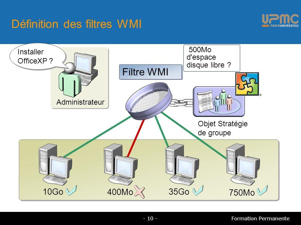 Définition des filtres WMI