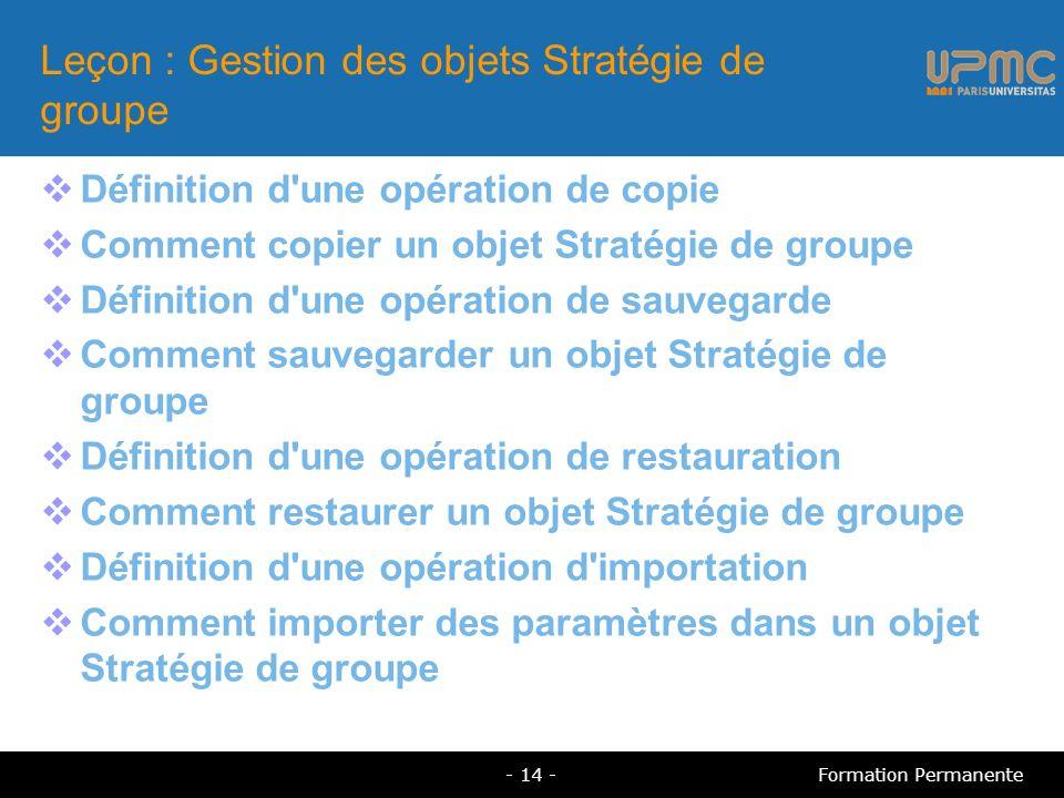 Leçon : Gestion des objets Stratégie de groupe