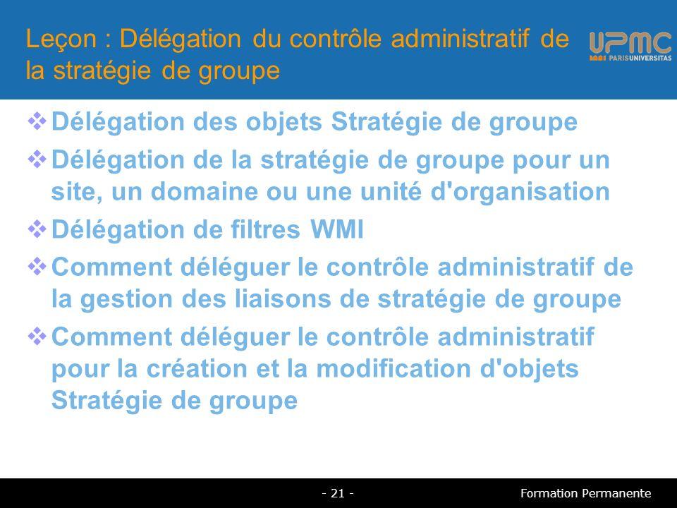 Leçon : Délégation du contrôle administratif de la stratégie de groupe