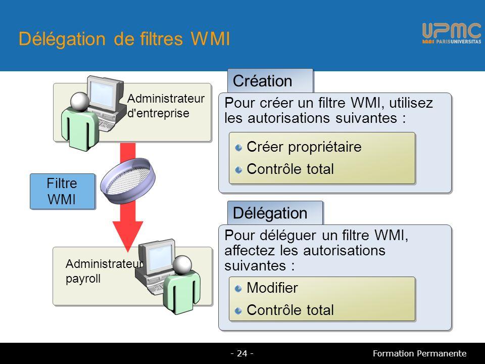 Délégation de filtres WMI