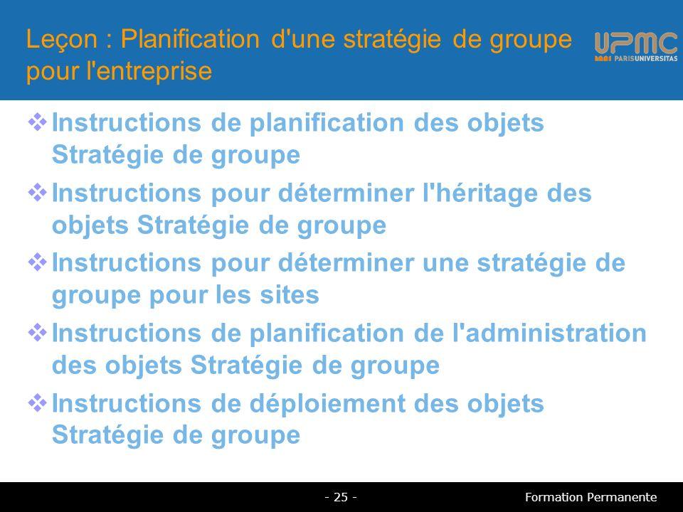Leçon : Planification d une stratégie de groupe pour l entreprise